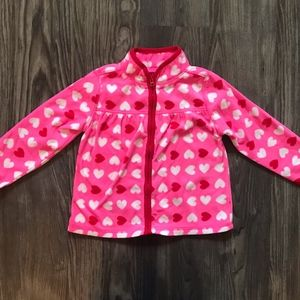 Fuzzy Pink and red Heart Zip Up - OshKoshperfect c